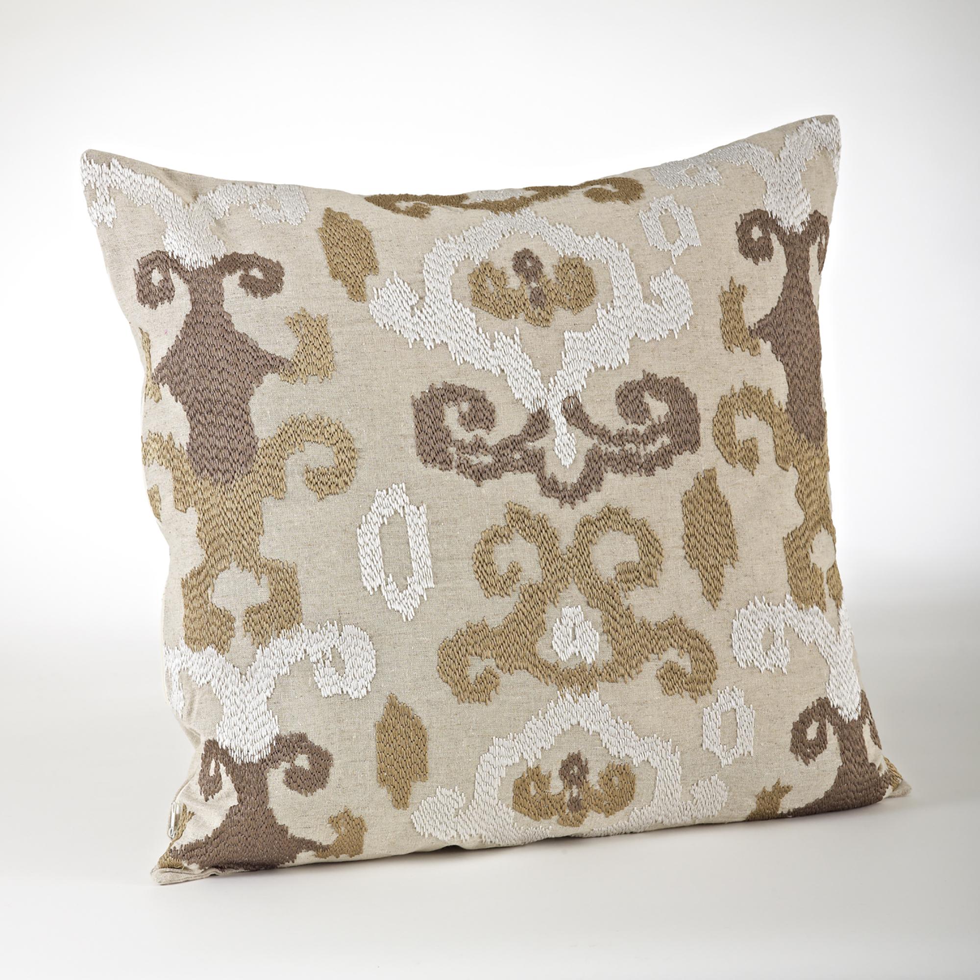20-inch Embroidered Ikat Design Throw Pillow - Saro Lifestyle 0127.CS20S