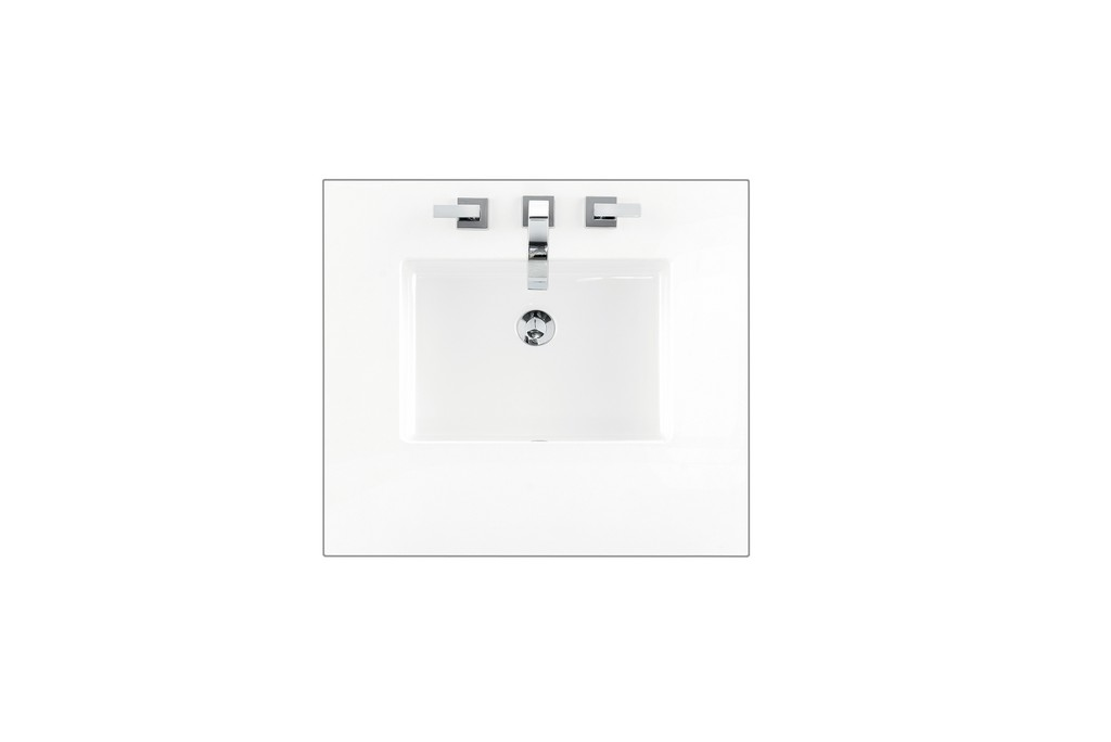 """26"""" Single Top, 3 CM Classic White Quartz with Sink - James Martin 050-S26-CLW-SNK"""