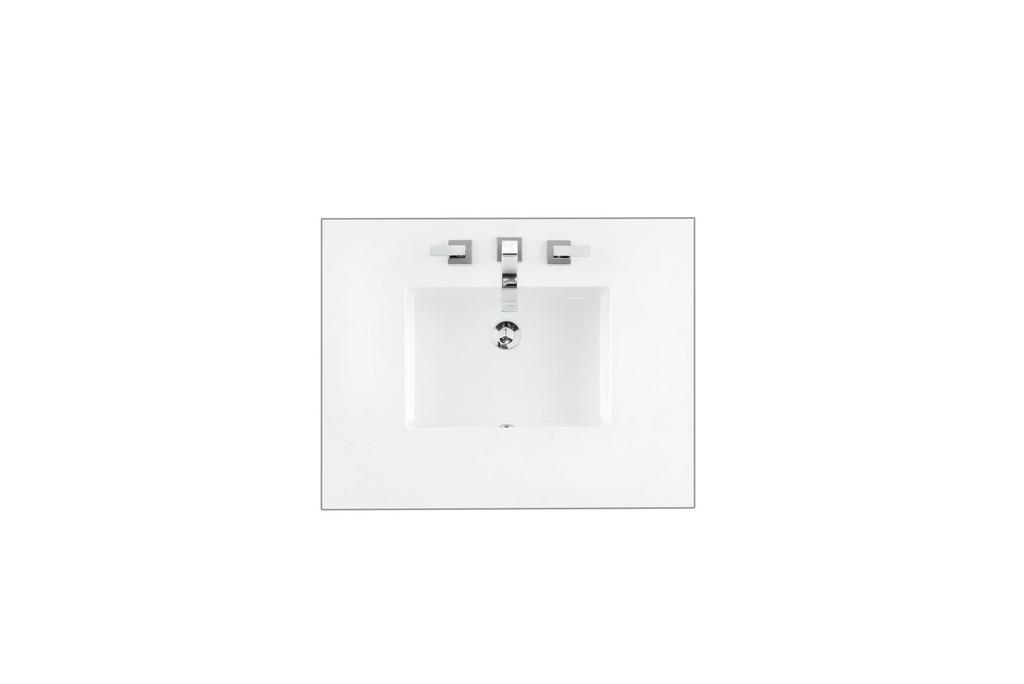 """30"""" Single Top, 3 CM Classic White Quartz with Sink - James Martin 050-S30-CLW-SNK"""
