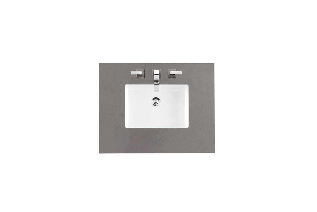 "30"" Single Top, 3 CM Grey Expo Quartz with Sink - James Martin 050-S30-GEX-SNK"