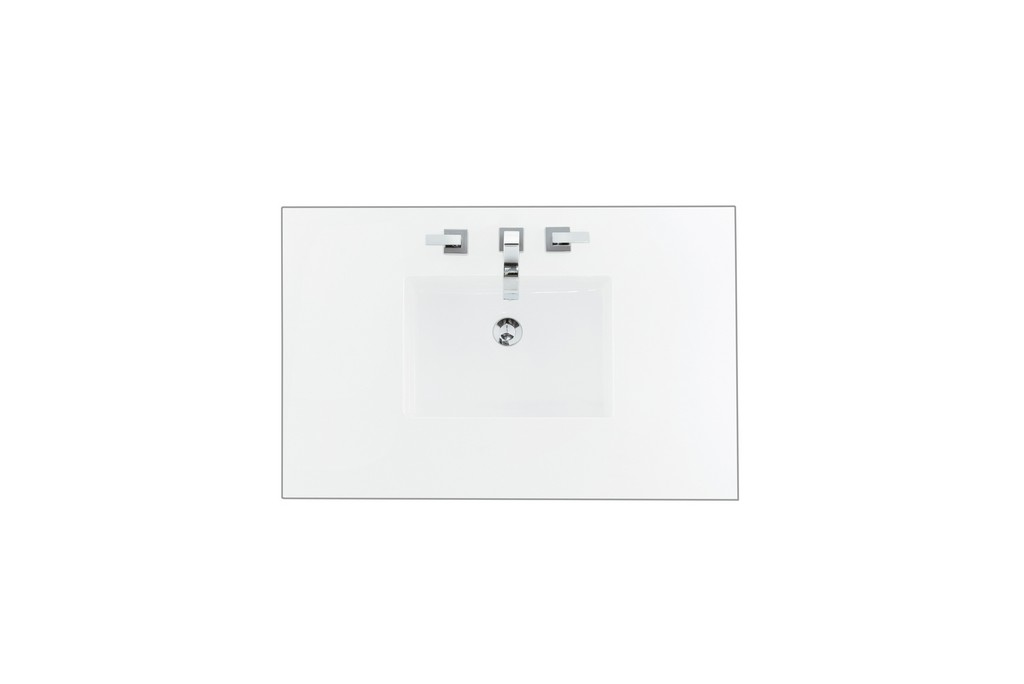 """36"""" Single Top, 3 CM Classic White Quartz with Sink - James Martin 050-S36-CLW-SNK"""