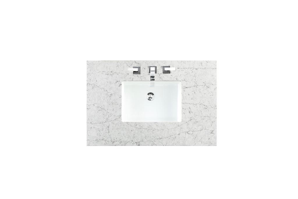 "36"" Single Top, 3 CM Eternal Jasmine Pearl Quartz with Sink - James Martin 050-S36-EJP-SNK"