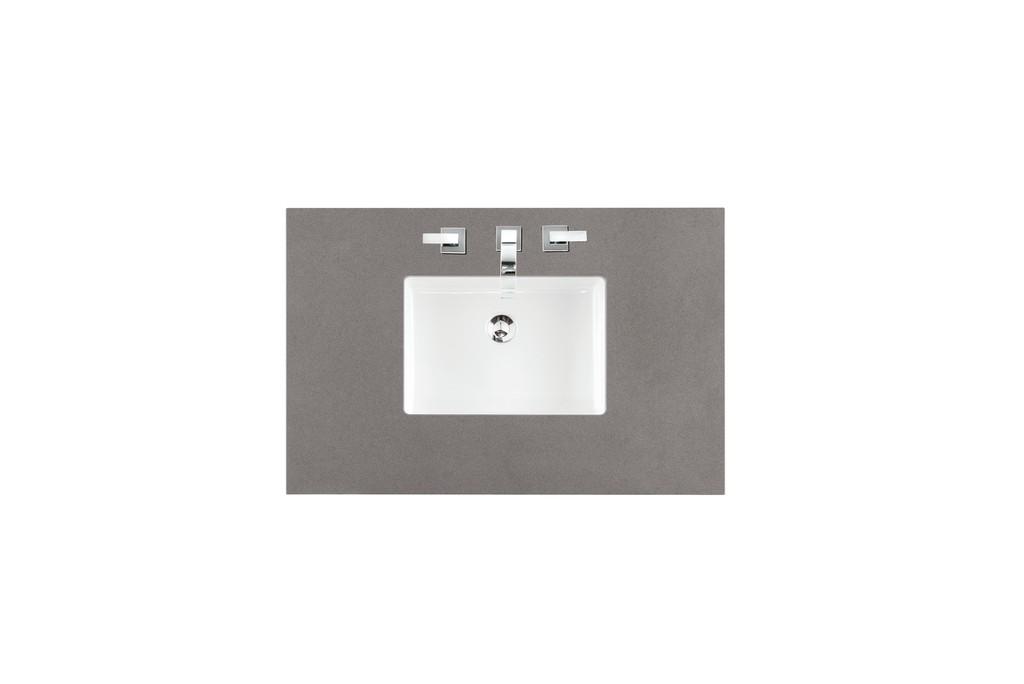 "36"" Single Top, 3 CM Grey Expo Quartz with Sink - James Martin 050-S36-GEX-SNK"