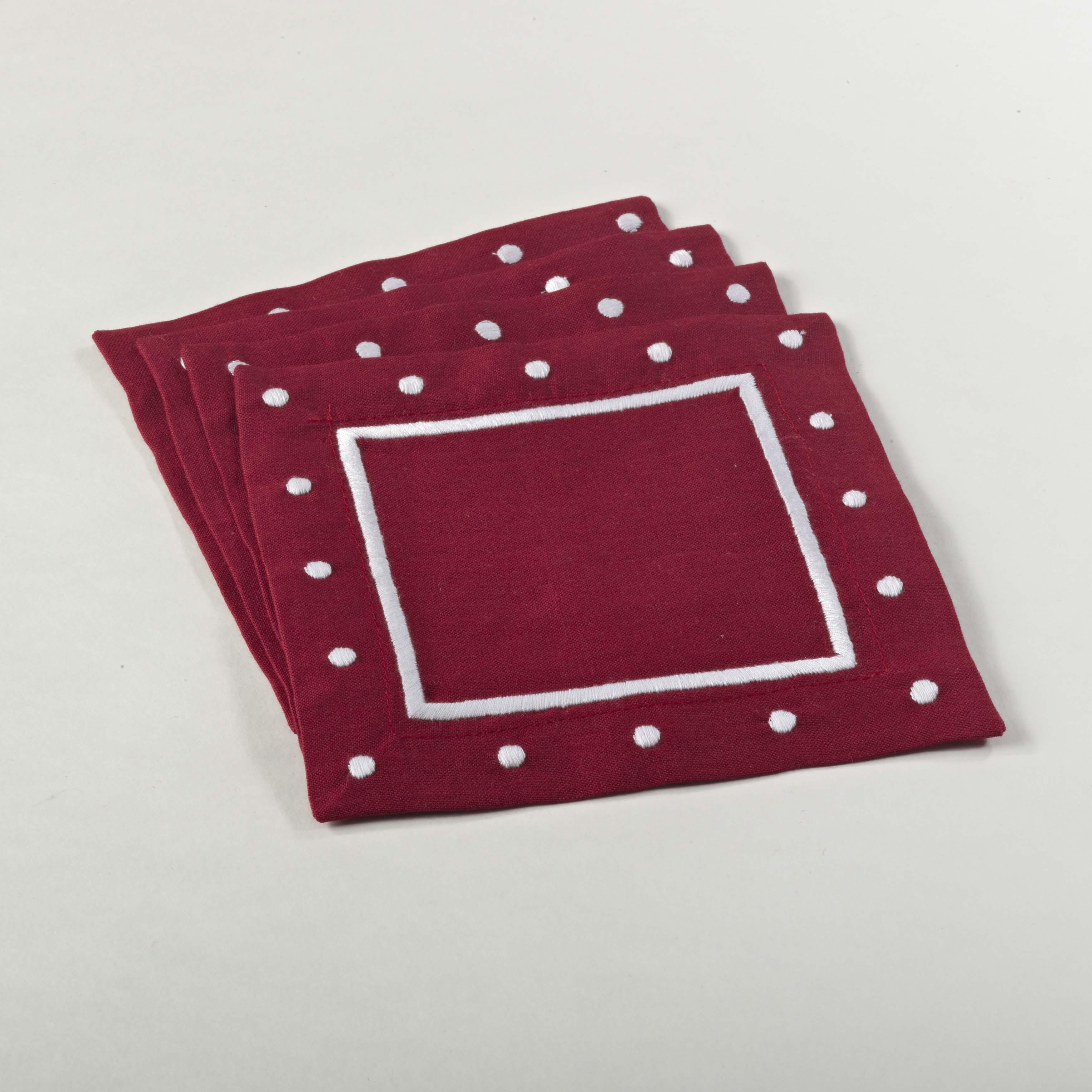 "Angelina Napkins Red 6"" Square Coaster (Set of 4) - Saro Lifestyle 0551.R6S"