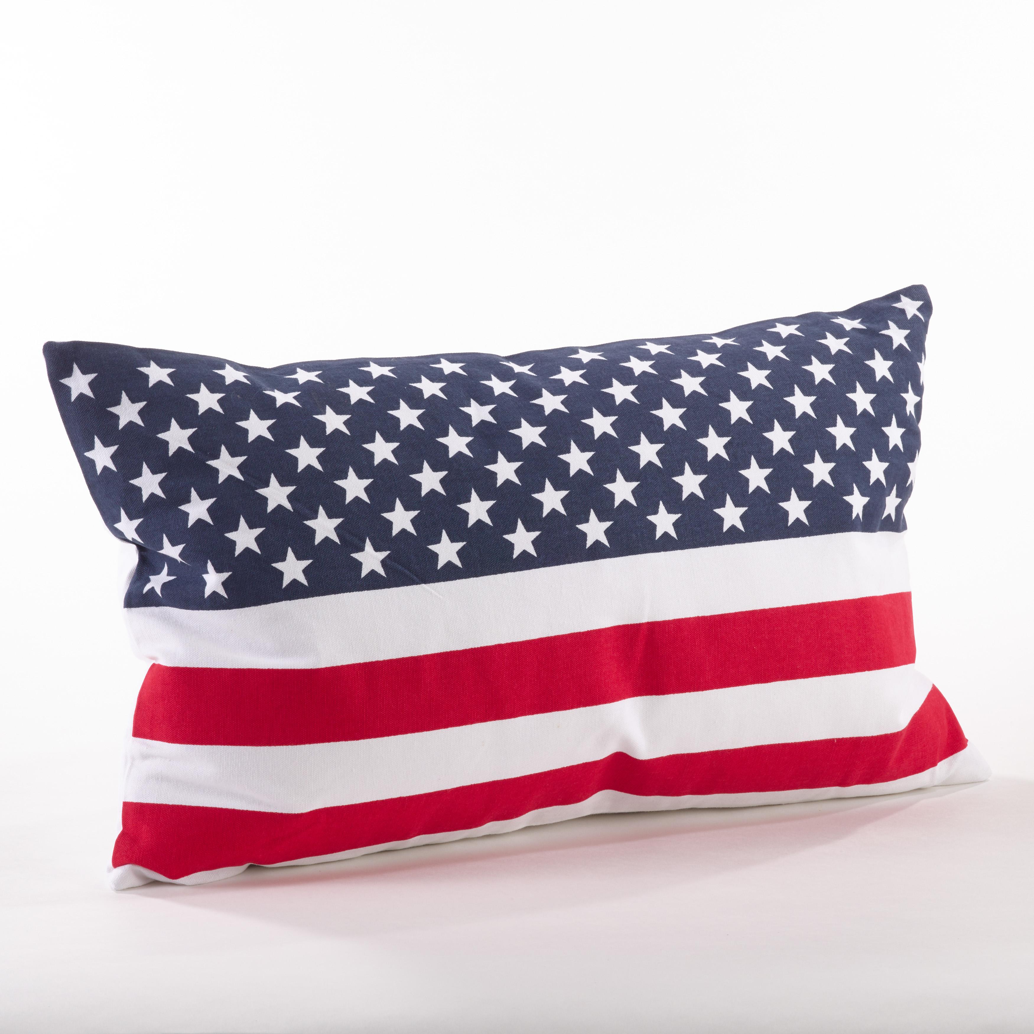 American Flag Design Cotton Down Filled Throw Pillow - Saro Lifestyle 0704P.M1423B