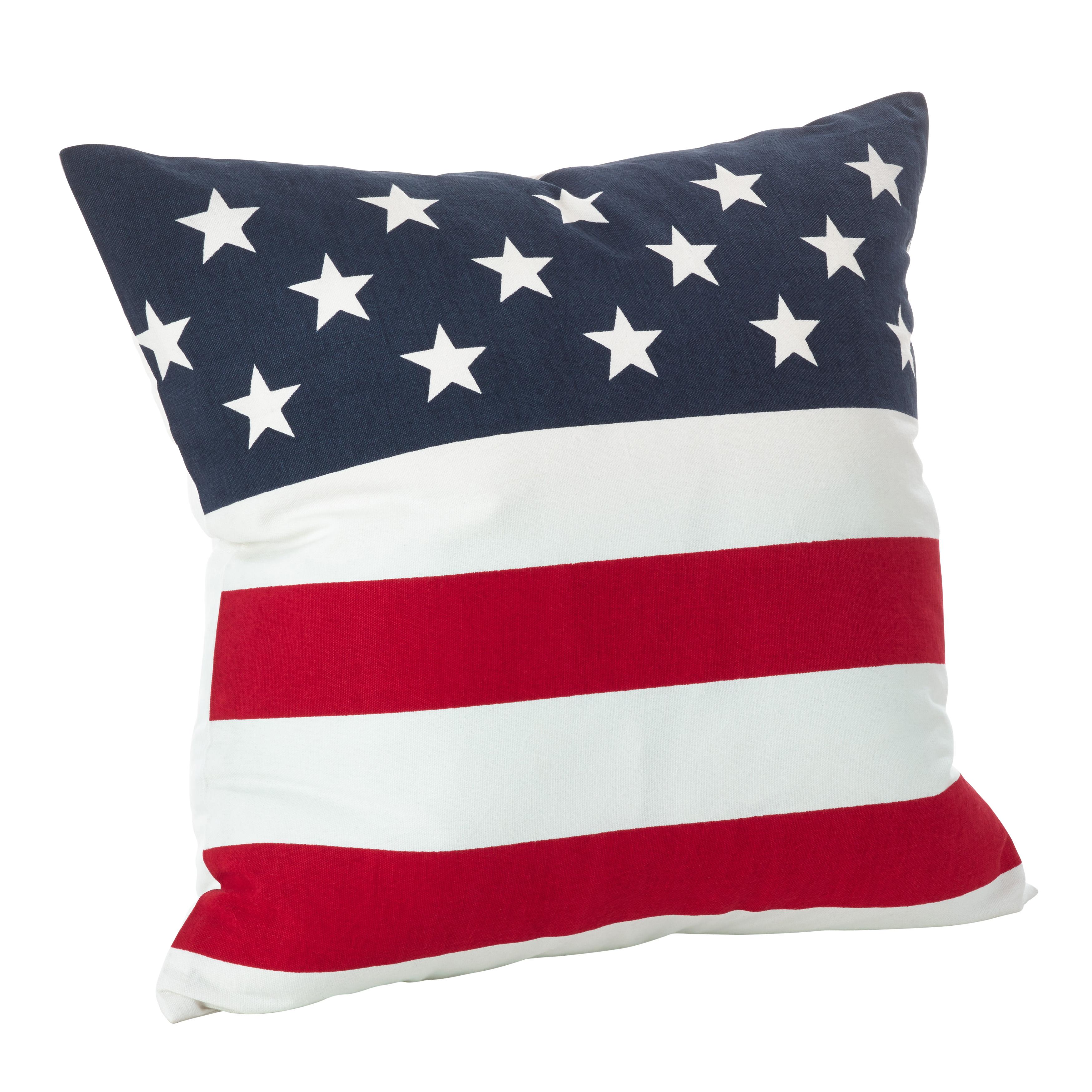 American Flag Design Cotton Down Filled Throw Pillow - Saro Lifestyle 0704P.M20S