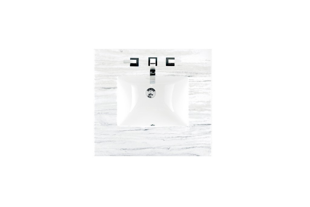 """26"""" Single Top, 3 CM Arctic Fall Solid Surface with Sink - James Martin 080-S26-AF-SNK"""