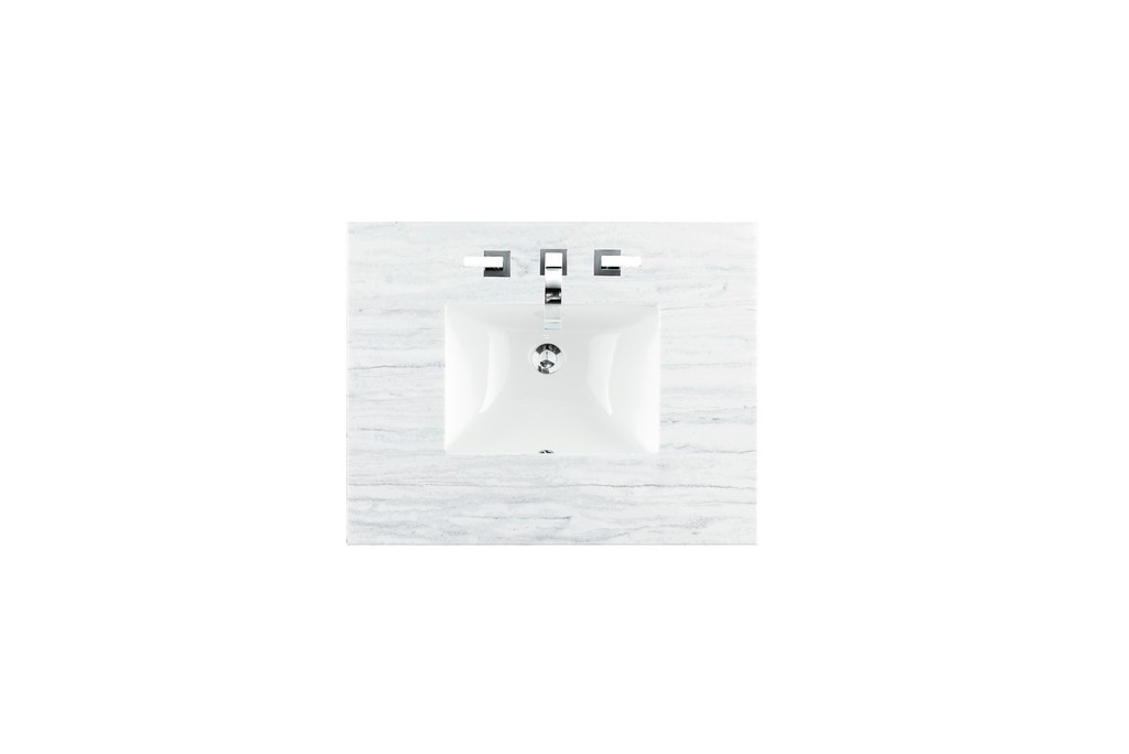 """30"""" Single Top, 3 CM Arctic Fall Solid Surface with Sink - James Martin 080-S30-AF-SNK"""