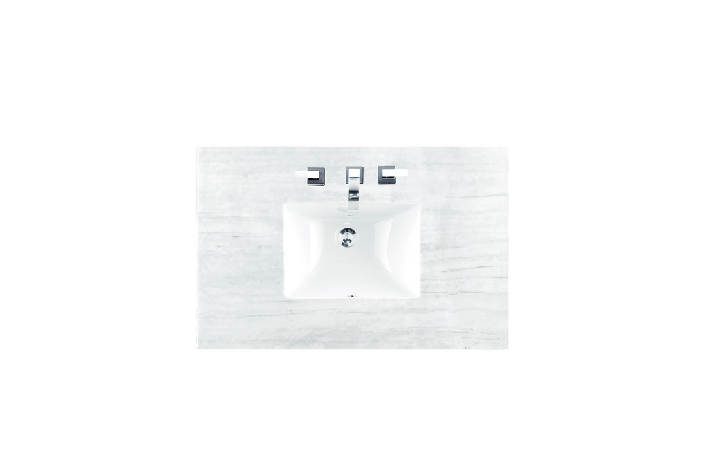 """36"""" Single Top, 3 CM Arctic Fall Solid Surface with Sink - James Martin 080-S36-AF-SNK"""