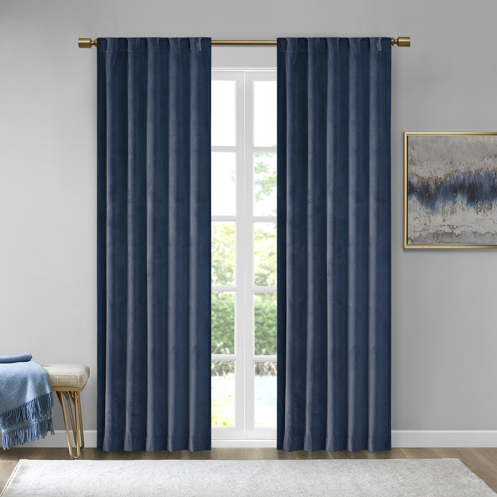 "510 Design Colt 84"" Panel Room Darkening Poly Velvet Rod Pocket/Back Tab Window Panel Pair - Olliix 5DS40-0161"