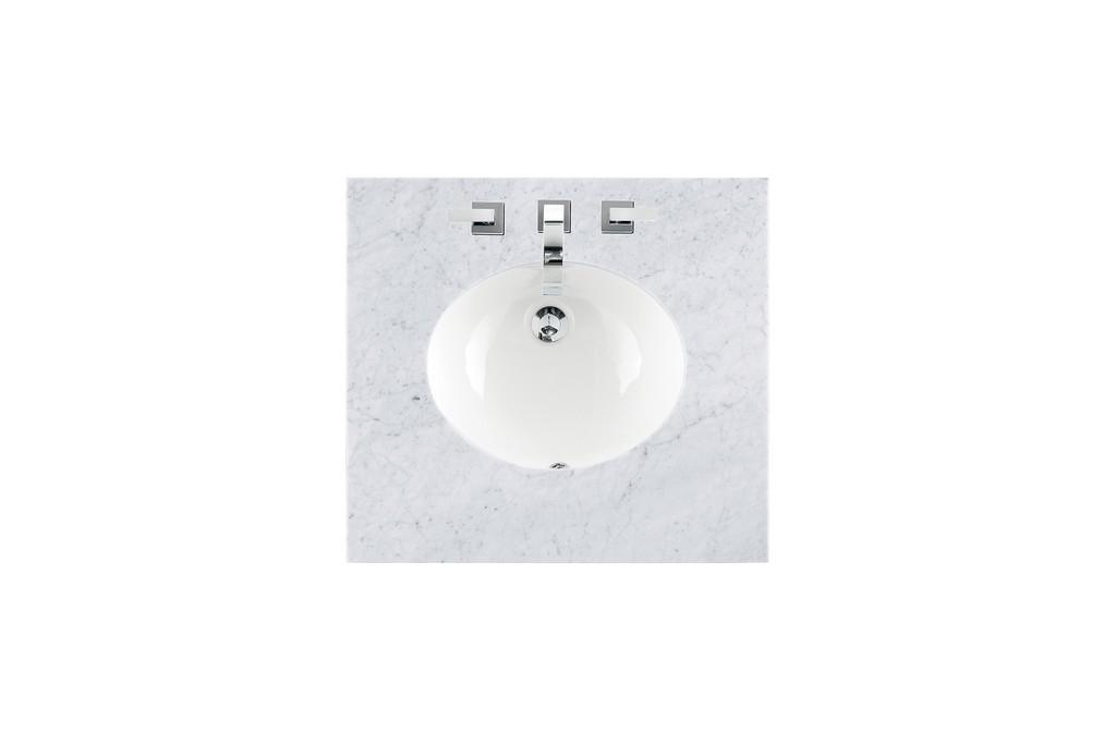 """26"""" Single Sink Top, Carrara White, 3 CM, Oval Sink - James Martin 090-OS26-CAR-SNK"""