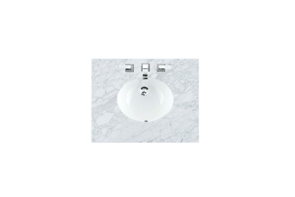 """30"""" Single Sink Top, Carrara White, 3 CM, Oval Sink - James Martin 090-OS30-CAR-SNK"""