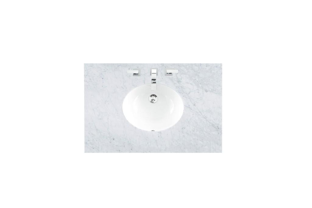 """36"""" Single Sink Top, Carrara White, 3 CM, Oval Sink - James Martin 090-OS36-CAR-SNK"""