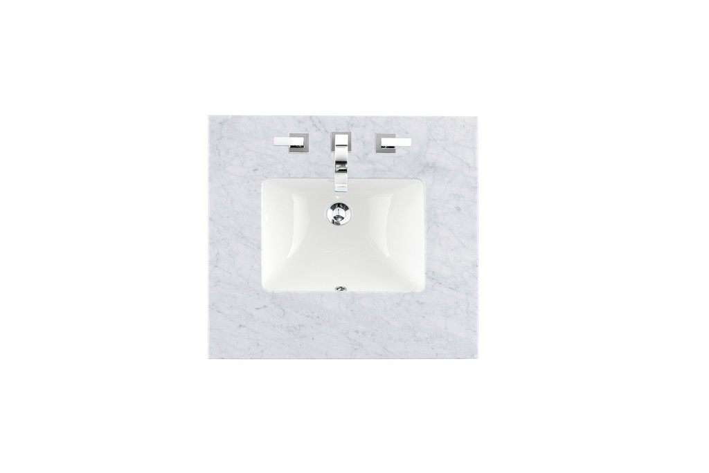 """26"""" Single 3 CM Top, Carrara White with Sink - James Martin 090-S26-CAR-SNK"""