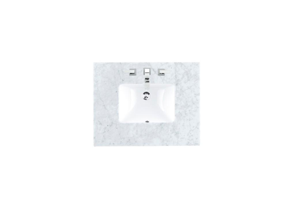 """30"""" Single 3 CM Top, Carrara White with Sink - James Martin 090-S30-CAR-SNK"""