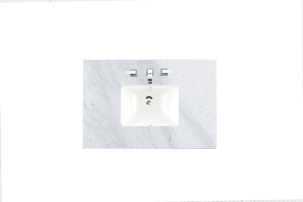 """36"""" Single 3 CM Top, Carrara White with Sink - James Martin 090-S36-CAR-SNK"""