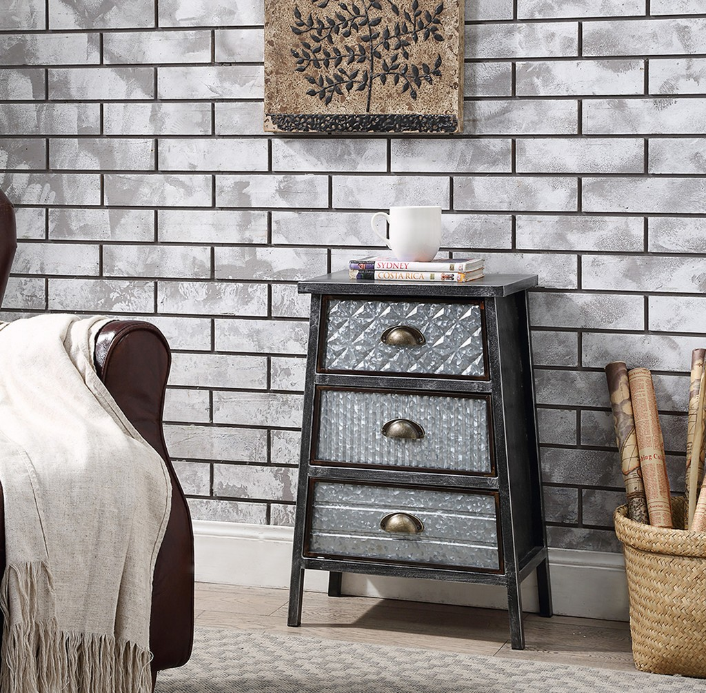 Armata Collection 3 Drawer Chest in Multi Textured Metal Gray & Galvanized - 4D Concepts 128017