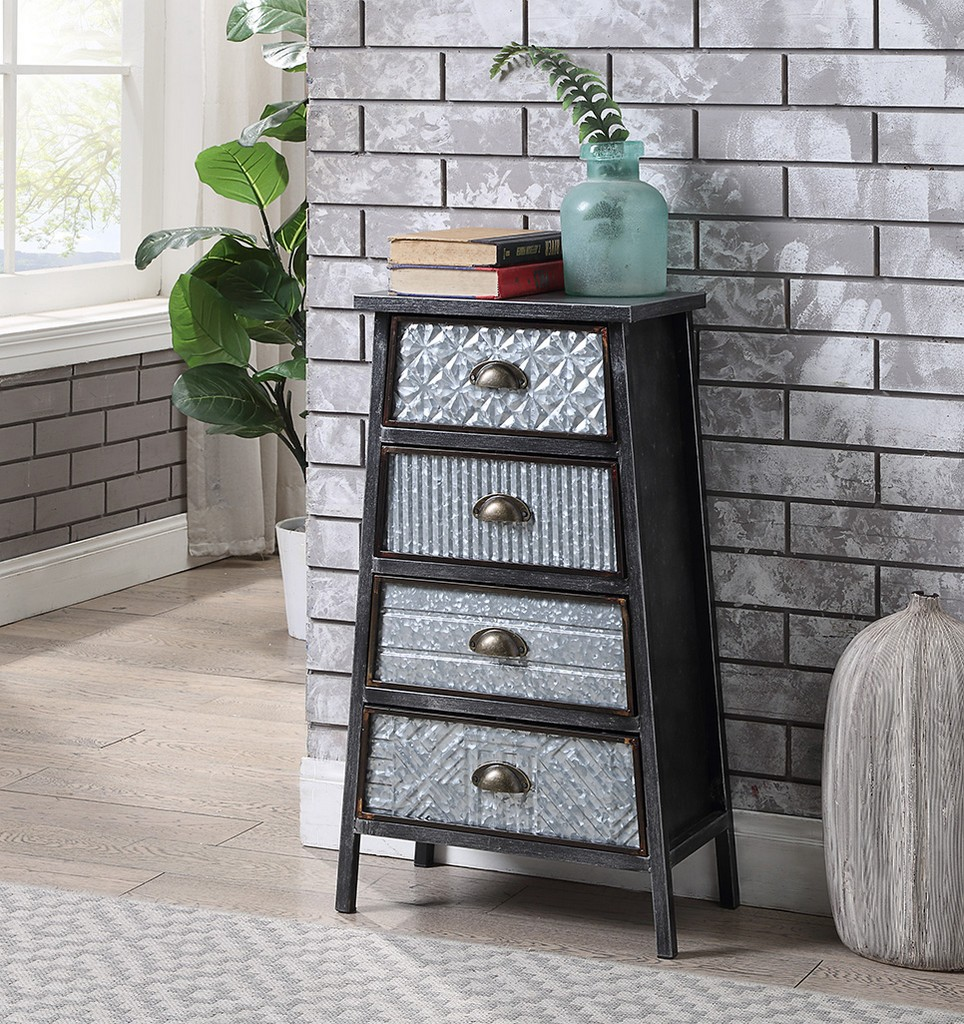 Armata Collection 4 Drawer Chest in Multi Textured Metal Gray & Galvanized - 4D Concepts 128019