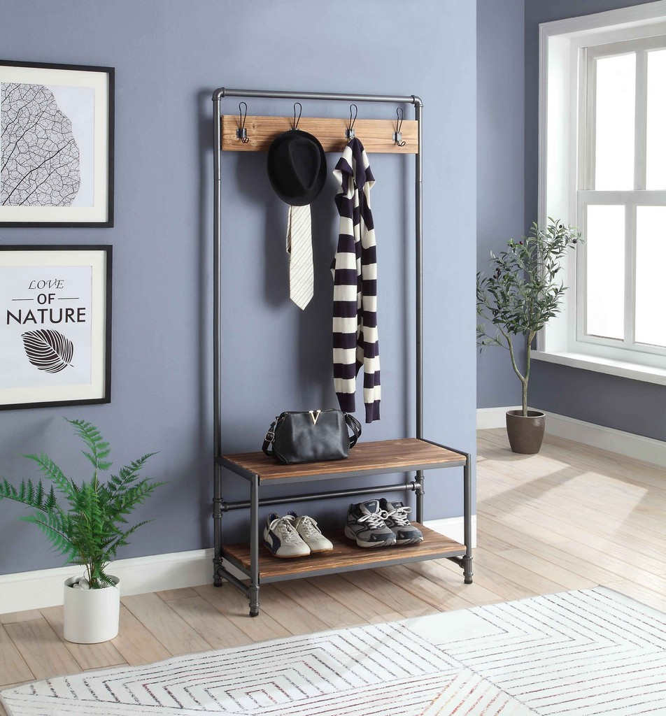 Anacortes Hall Tree in Black Gray Pipe/ Brown Shelves - 4D Concepts 621123