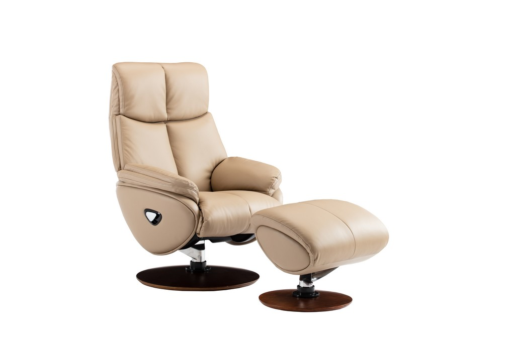 Barcalounger 15-3725 Alicia Pedestal Recliner / Ottoman in 3618-83 Capri Nomad / Leather Match