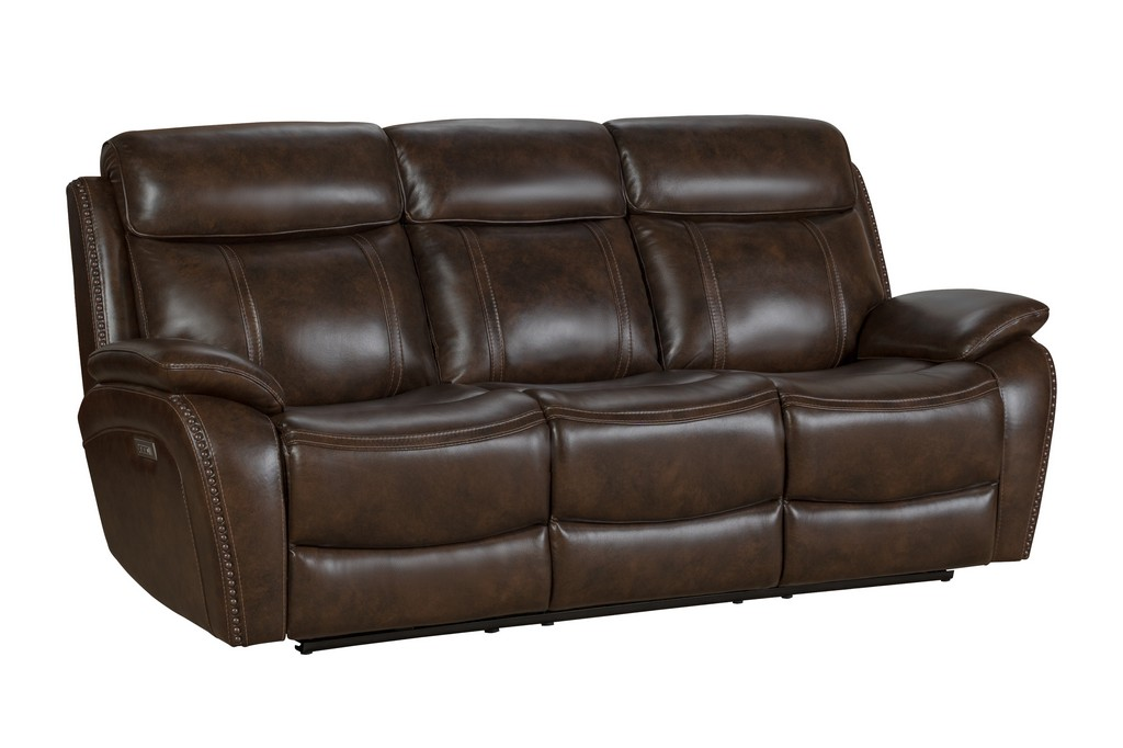 Sandover Power Reclining Sofa Power Head Rests Power Lumbar Drop Down Table Middle Tri Tone Chocolate Leather Match