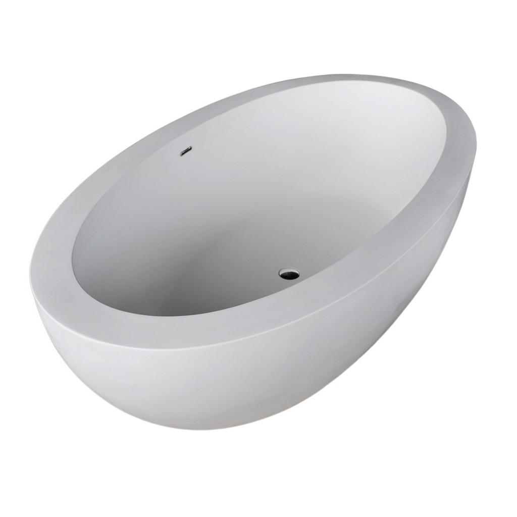 Lusso Surface Center Drain Freestanding Bathtub Matte White