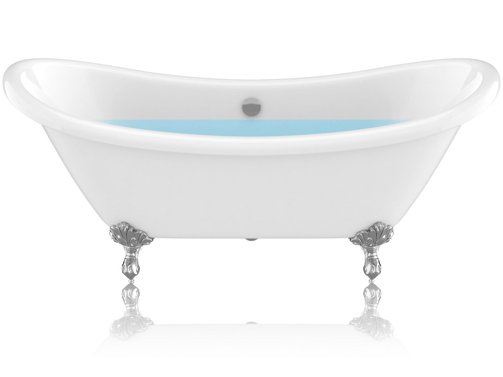 """69.29"""" Belissima Double Slipper Acrylic Claw Foot Tub in White - ANZII FT-CF130FAFT-CH"""