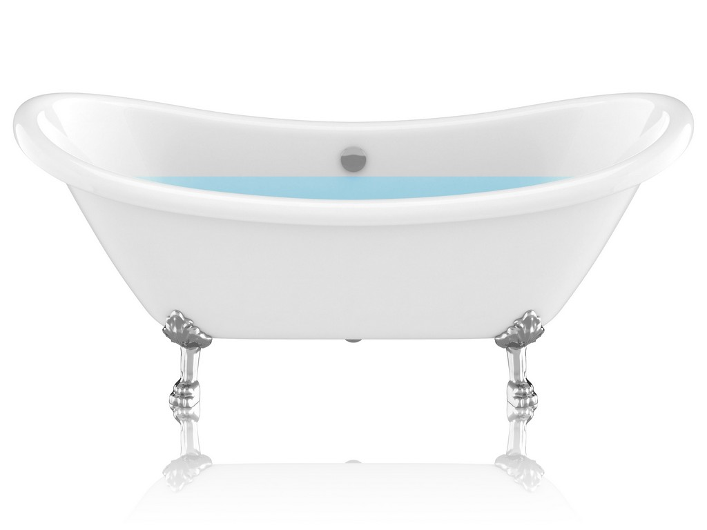 """69.29"""" Belissima Double Slipper Acrylic Claw Foot Tub in White - ANZII FT-CF130LXFT-CH"""