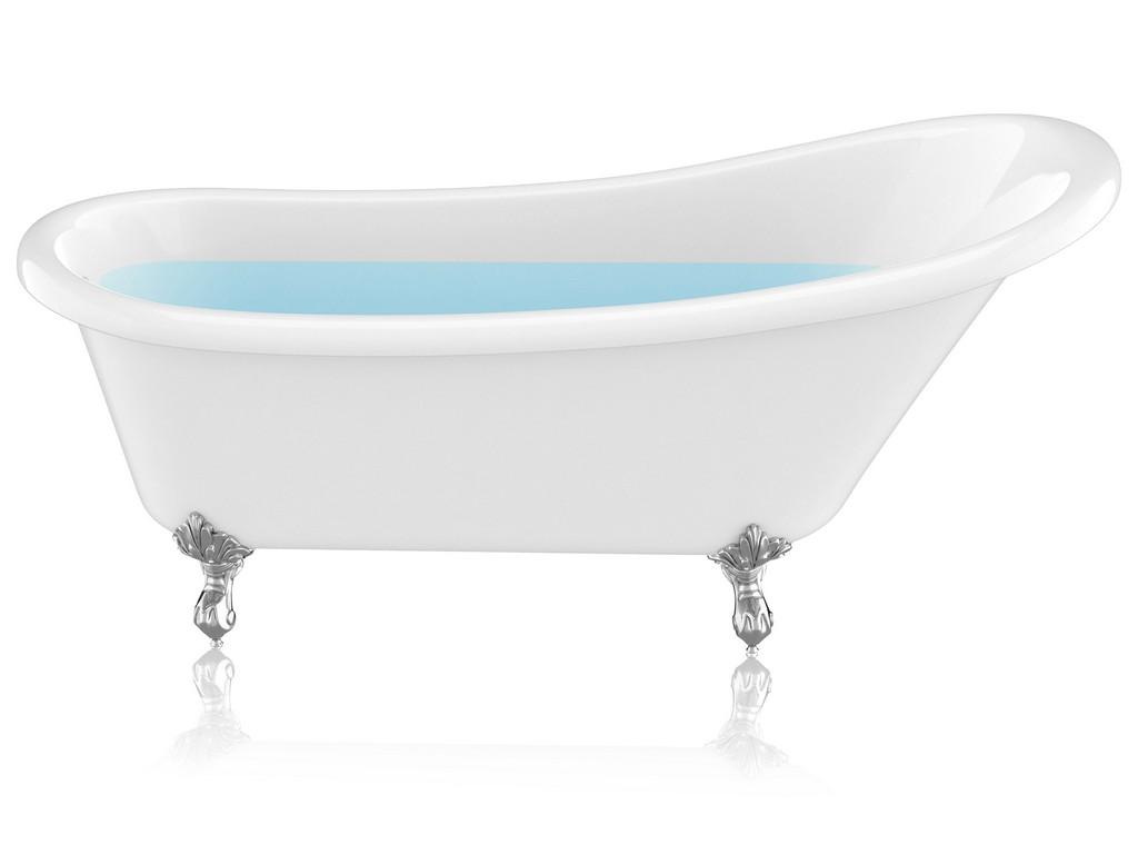 "67.32"" Diamante Slipper-Style Acrylic Claw Foot Tub in White - ANZII FT-CF131FAFT-CH"