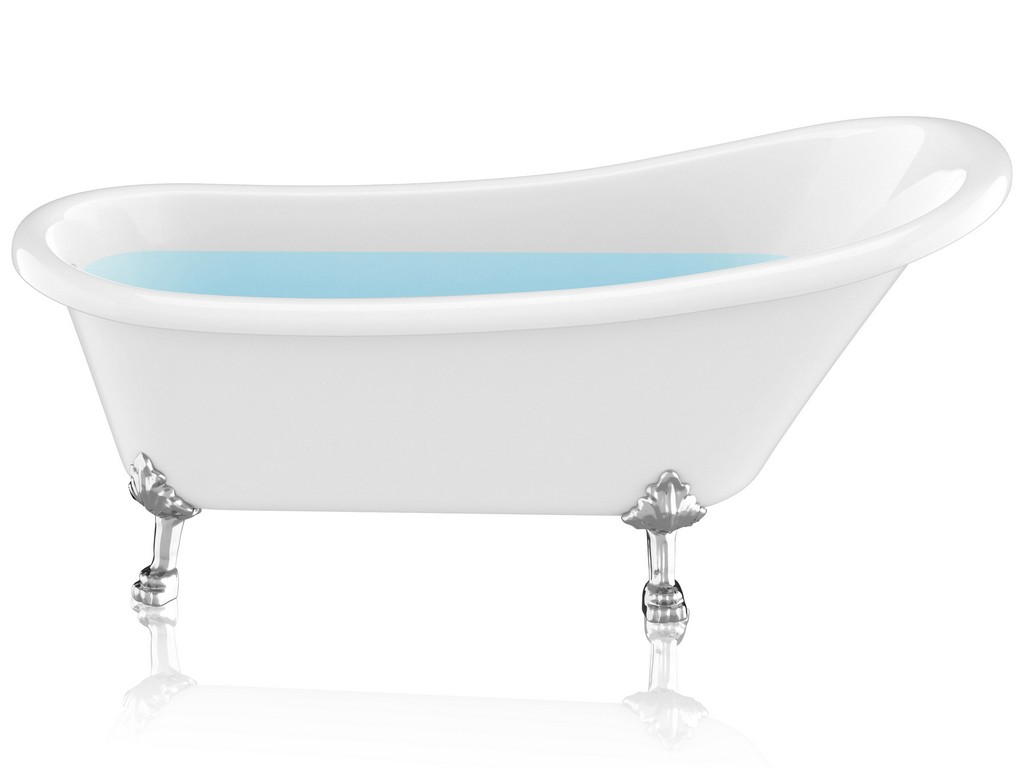 """67.32"""" Diamante Slipper-Style Acrylic Claw Foot Tub in White - ANZII FT-CF131LXFT-CH"""