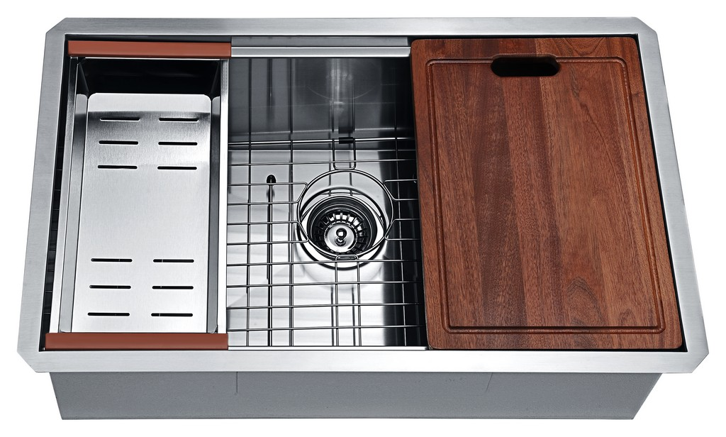 Aegis Undermount Stainless Steel 30 in. 0-Hole Single Bowl Kitchen Sink with Cutting Board and Colander - ANZII K-AZ3018-1Ac