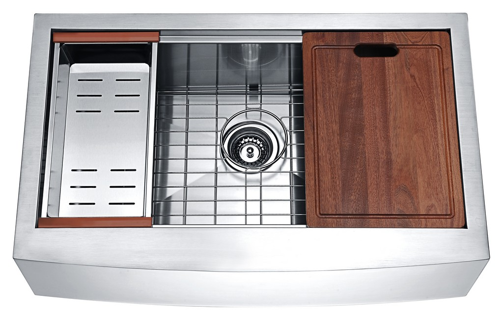 Aegis Farmhouse Stainless Steel 33 in. 0-Hole Single Bowl Kitchen Sink with Cutting Board and Colander - ANZII K-AZ3320-1Ac