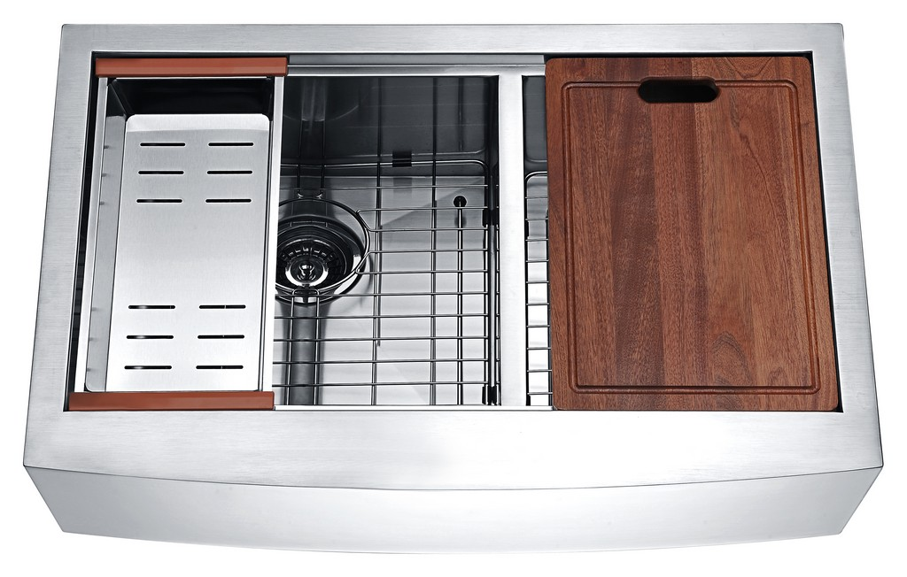 Aegis Farmhouse Stainless Steel 33 in. 0-Hole 60/40 Double Bowl Kitchen Sink with Cutting Board and Colander - ANZII K-AZ3320-4Ac