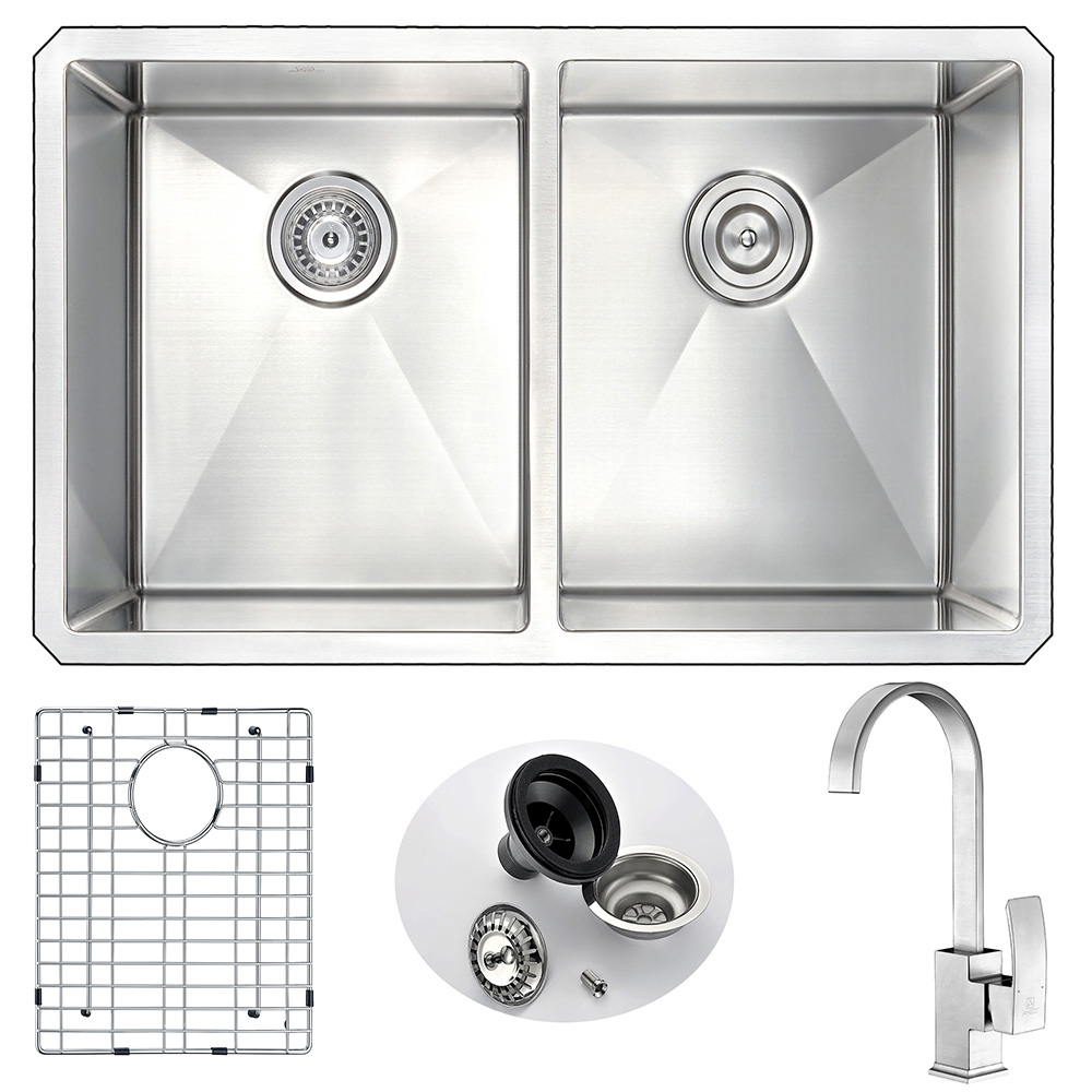 Stainless | Kitchen | Faucet | Nickel | Double | Brush | Steel | Sink | Bowl | Set