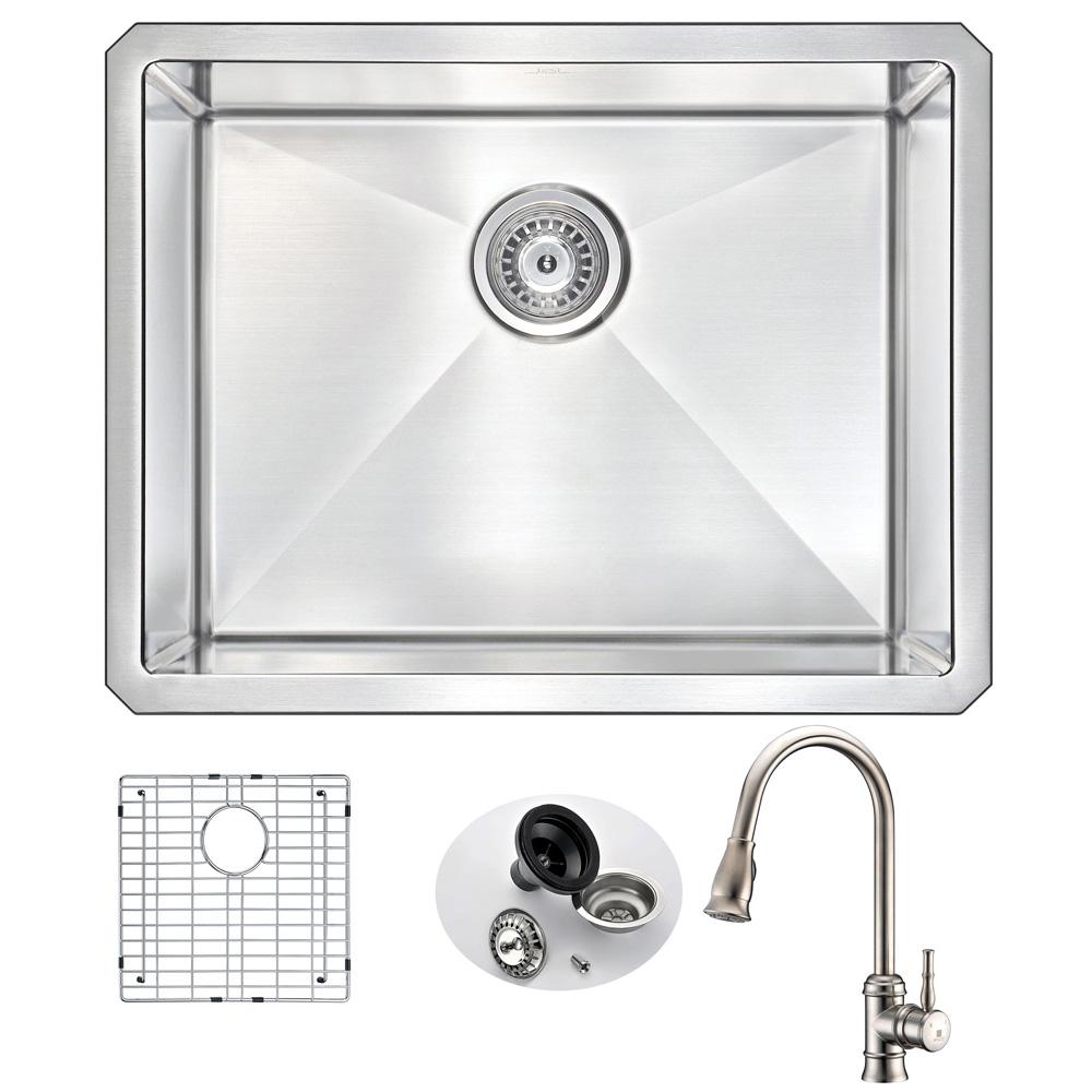 Stainless | Kitchen | Faucet | Nickel | Single | Brush | Steel | Sail | Sink | Bowl | Set