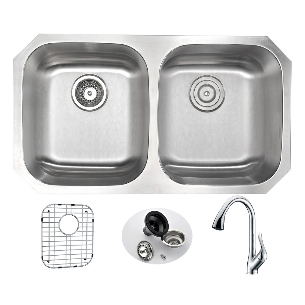 Anzzi Undermount Double Bowl Kitchen Sink Accent Faucet Polished Chrome