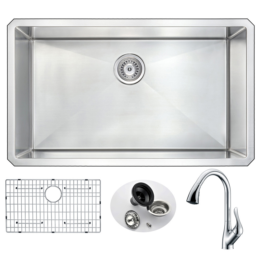 Stainless | Kitchen | Faucet | Polish | Accent | Single | Chrome | Steel | Sink | Bowl