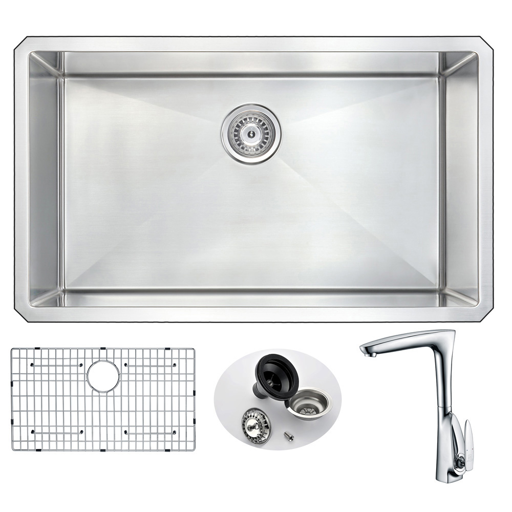 Stainless | Kitchen | Faucet | Polish | Single | Chrome | Steel | Sink | Bowl