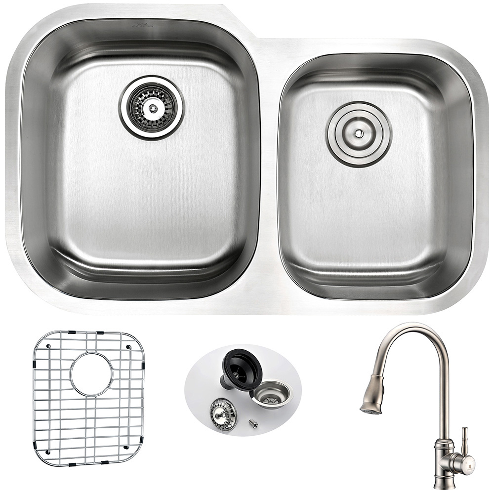 Stainless | Kitchen | Faucet | Nickel | Double | Brush | Steel | Sail | Sink | Bowl | Set