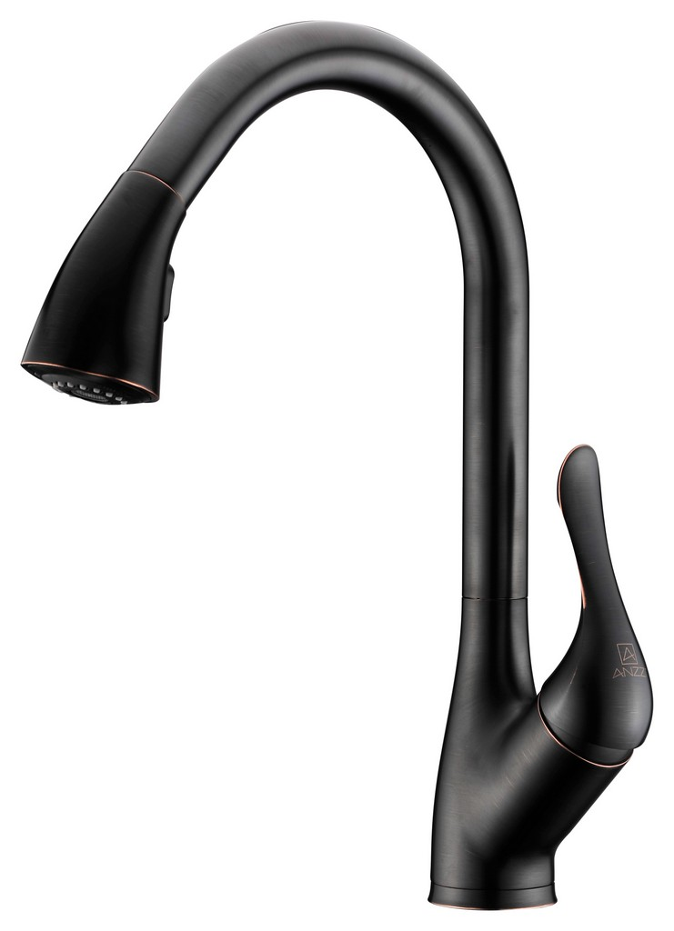 Accent Series Single-Handle Pull-Down Sprayer Kitchen Faucet in Oil Rubbed Bronze - ANZII KF-AZ031ORB