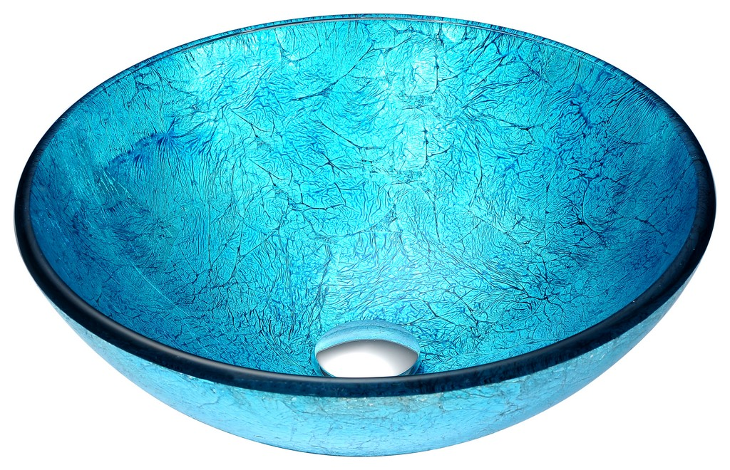Accent Series Deco-Glass Vessel Sink in Blue Ice - ANZII LS-AZ047