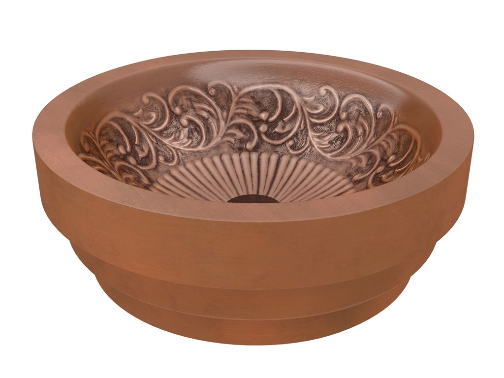 Admiral 17 in. Handmade Vessel Sink in Polished Antique Copper with Floral Design Interior - ANZII LS-AZ336