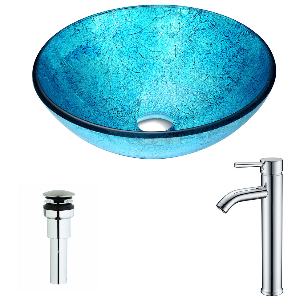 Accent Series Deco-Glass Vessel Sink in Blue Ice with Fann Faucet in Chrome - ANZII LSAZ047-041