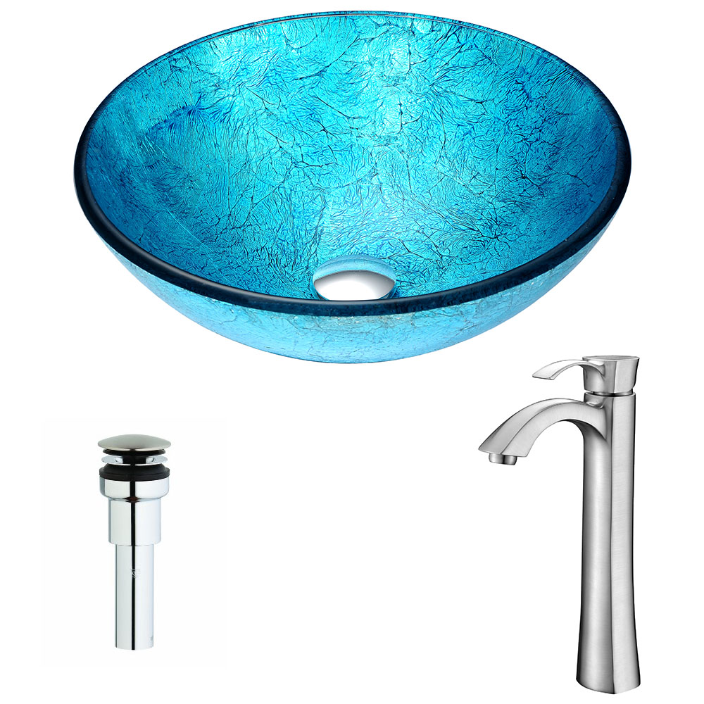 Accent Series Deco-Glass Vessel Sink in Blue Ice with Harmony Faucet in Brushed Nickel - ANZII LSAZ047-095B