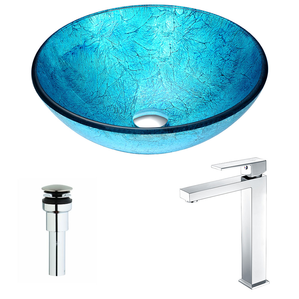 Accent Series Deco-Glass Vessel Sink in Blue Ice with Enti Faucet in Chrome - ANZII LSAZ047-096