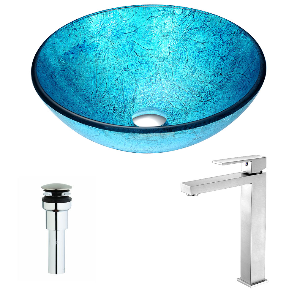 Accent Series Deco-Glass Vessel Sink in Blue Ice with Enti Faucet in Brushed Nickel - ANZII LSAZ047-096B