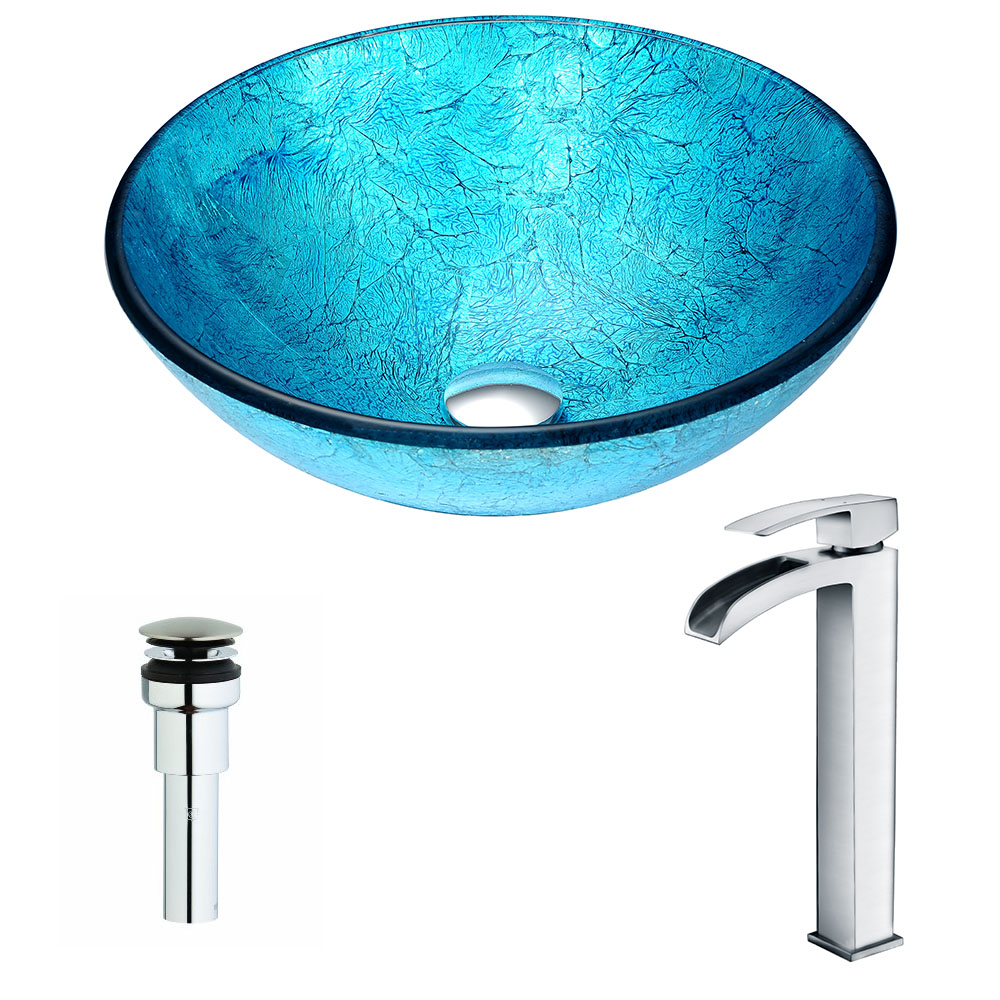 Accent Series Deco-Glass Vessel Sink in Blue Ice with Key Faucet in Polished Chrome - ANZII LSAZ047-097