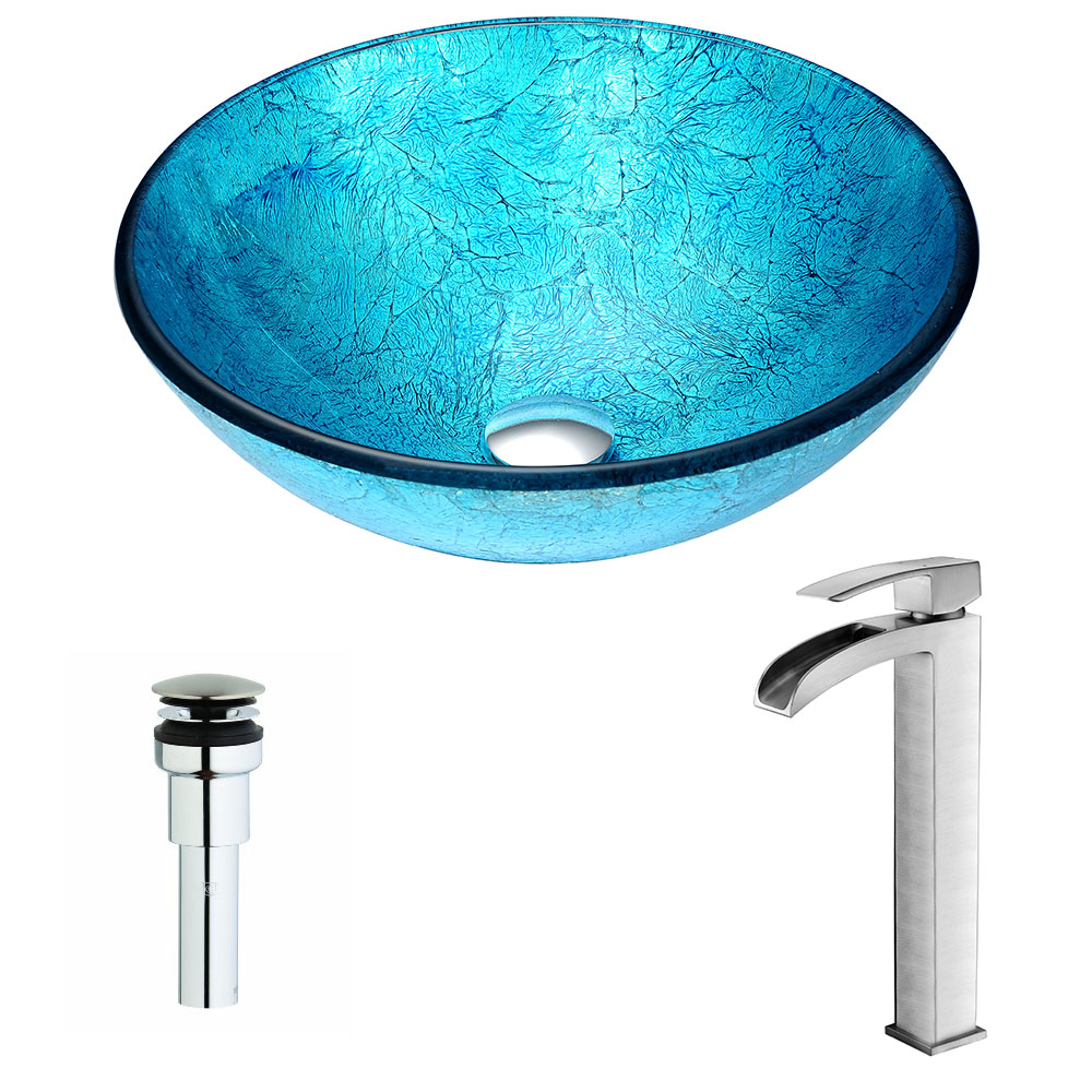 Accent Series Deco-Glass Vessel Sink in Blue Ice with Key Faucet in Brushed Nickel - ANZII LSAZ047-097B