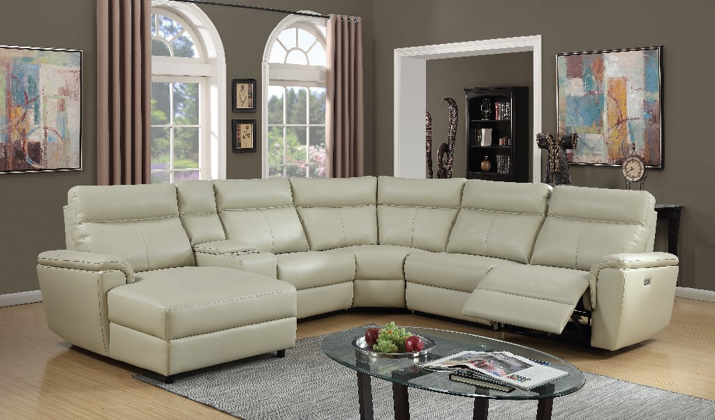 Myco Brayden Power Recliner Leather Gel Sectional Ivory