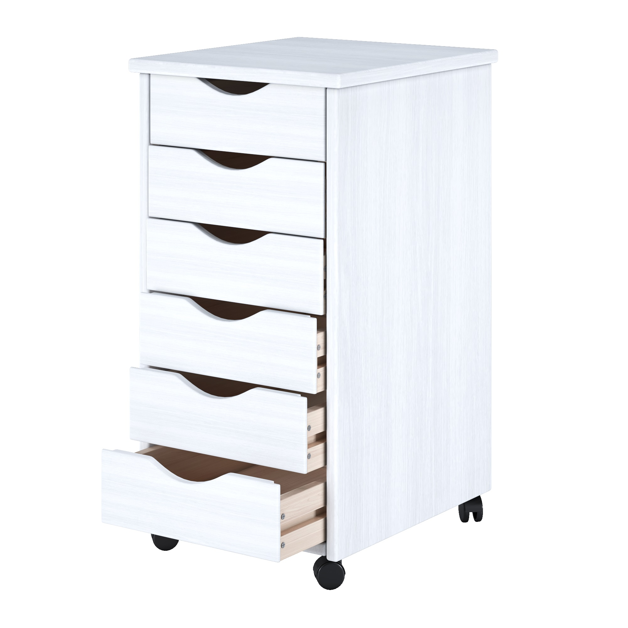 6 Drawer Solid Wood Roll Cart White - Adeptus 10018